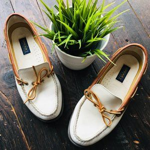 SPERRY White & Camel Leather Top Sider Boat Shoes